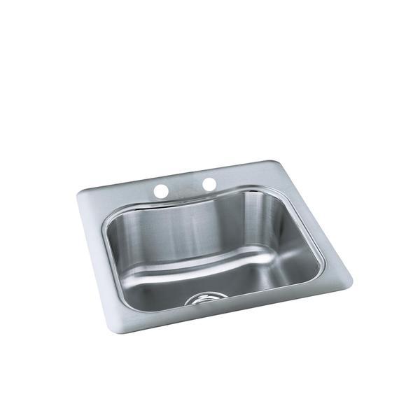 Kohler Staccato Sink : Kohler Staccato Self-Rimming Stainless Steel 2-hole Single Bowl Sink ...