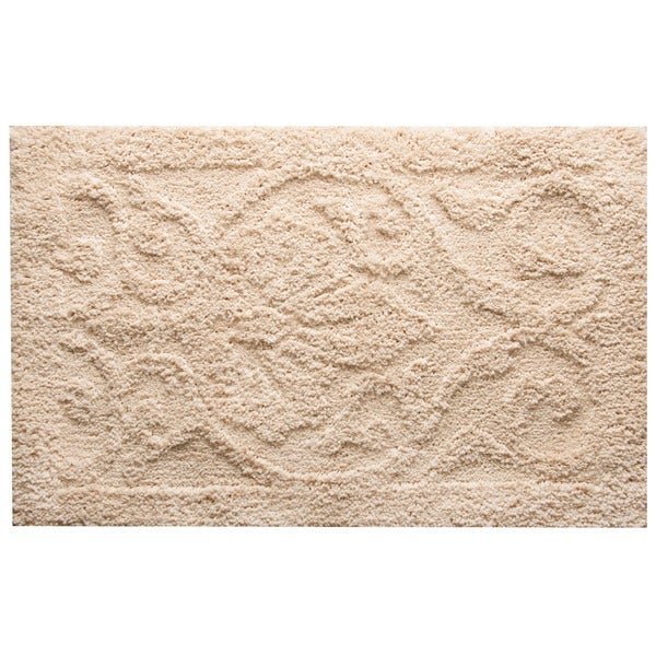 Furla damask cream bath rug free shipping on orders over for Big w bathroom mats