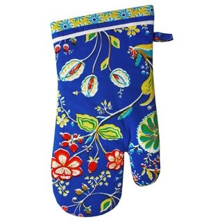 Mukitchen 'Bella' Blue Floral 13-inch Cotton Oven Mitt