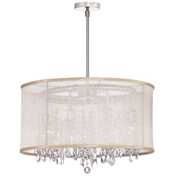 Bohemian 8-light Polished Chrome/ Oyster Organza Crystal Chandelier - Silver