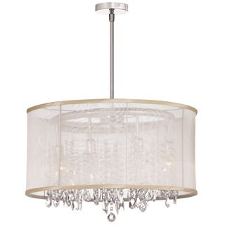Bohemian 8-light Polished Chrome/ Oyster Organza Crystal Chandelier