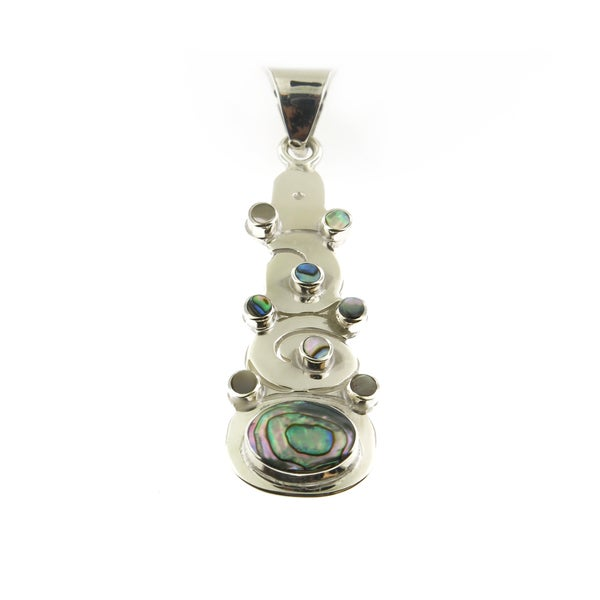 Handmade Sterling Silver Abalone Eclipsed Sun Pendant (Mexico)