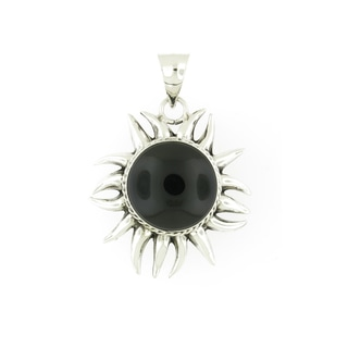 Handcrafted Heavy Sterling Silver Onyx Eclipsed Sun Pendant (Mexico)