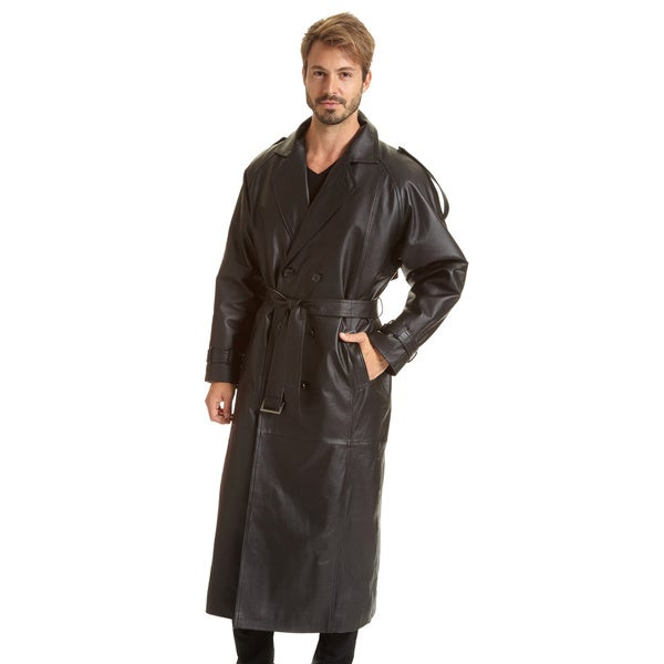 Excelled Mens Tall Sizes Double Breasted Leather Belted Trench with Zip-out Lining