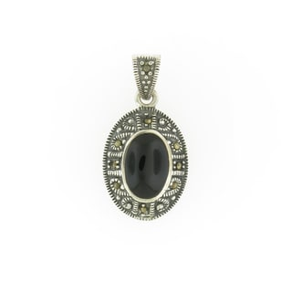 Handmade Sterling Silver Marcasite and Onyx Antiqued Oval Pendant (Thailand)