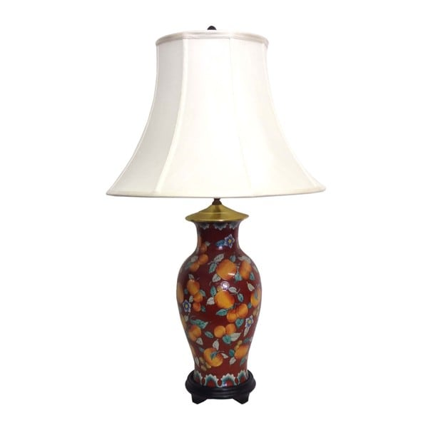 Peaches Fishtail Porcelain Vase Lamp