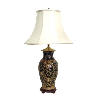 Gold Scrolls Fishtail Porcelain Vase Lamp