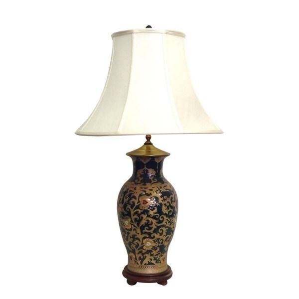 Gold Scrolls Fishtail Porcelain Vase Lamp