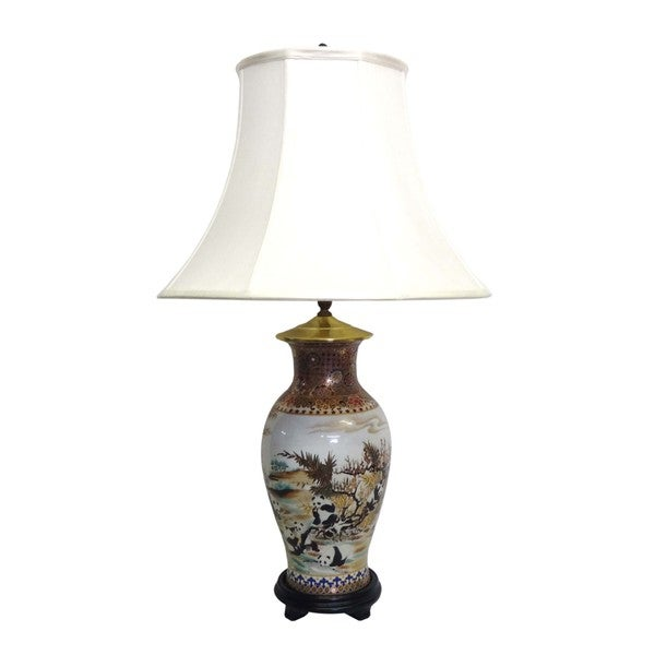 Panda Fishtail Porcelain Vase Lamp