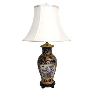 Royal Medallion Fishtail Porcelain Vase Lamp