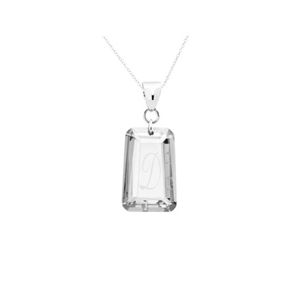 .925 Sterling Silver Clear Cubic Zirconia April Birthstone Initial Pendant Necklace