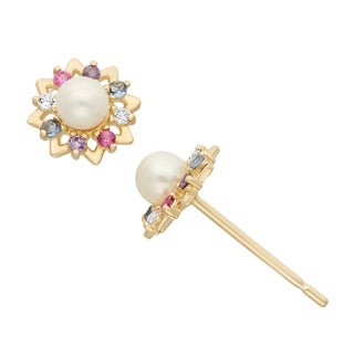 Junior Jewels 14k Gold Multi-colored Cubic Zirconia and Freshwater Pearl Designer Stud Earrings (3 m