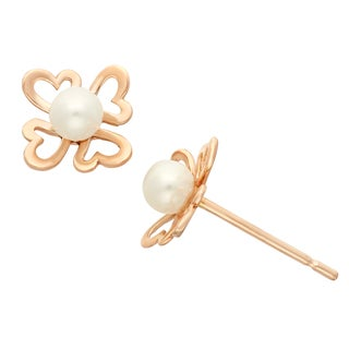 Junior Jewels 14k Rose Gold White Pearl Hearts Stud Earrings (3 mm)