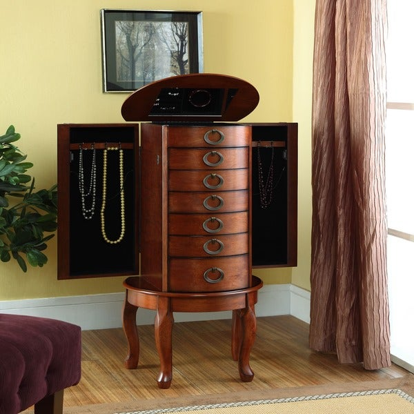 Shop Powell Woodland Cherry Jewelry Armoire Free Shipping Today