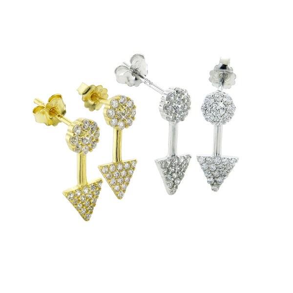 Eternally Haute Sterling Silver and Cubic Zirconia Arrow Stud Earrings