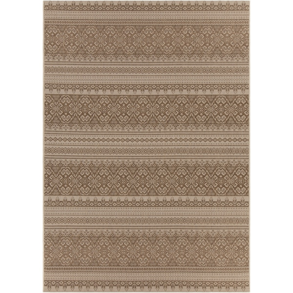Artist's Loom Indoor/Outdoor Transitional Oriental Rug - Brown/Tan - 7'10 x 11'2