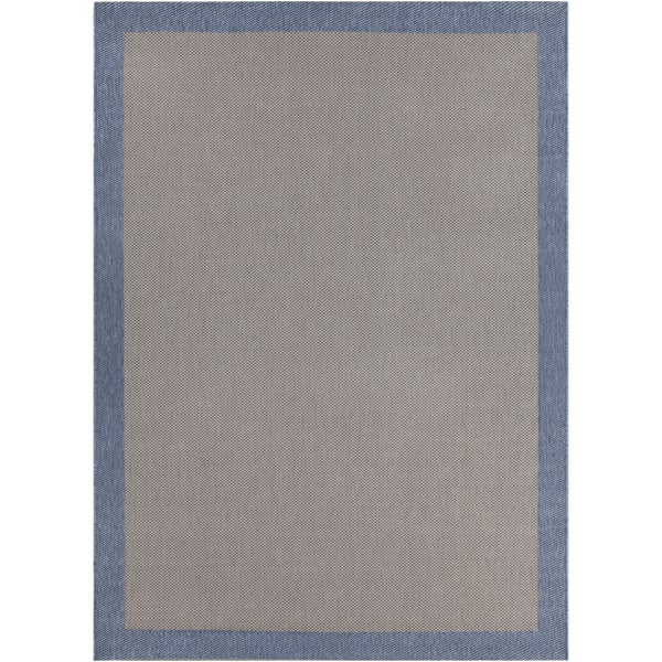 Artist's Loom Indoor/Outdoor Contemporary Border Rug - 7'10 x 11'2