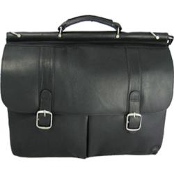 David King Leather 143 Dowel Laptop Briefcase Black