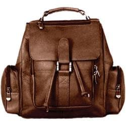 David King Leather 331 Mid Size Top Handle Backpack Cafe