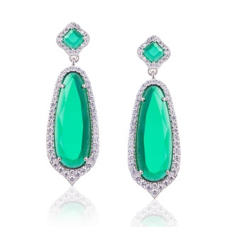 Blue Box Jewels Rhodium-plated Sterling Silver Cubic Zirconia Emerald Pear-shaped Dangle Earrings