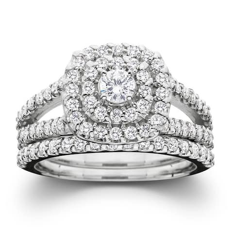 10k White Gold 1ct TDW Diamond Halo Wedding Ring Set