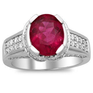 14k White Gold 3/4ct TDW Diamond and 2 1/2ct Rubelite Gemstone Ring (F-G, SI1-SI2)