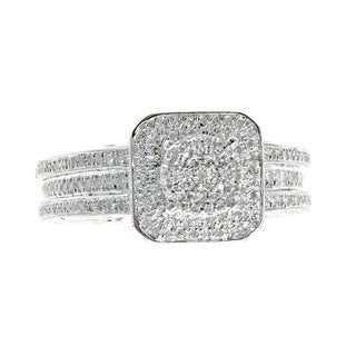 10k White Gold 1 1/5ct TDW Diamond Engagement Ring Set