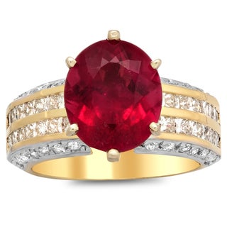 14k White Ladies Diamond and Rubelite Ring