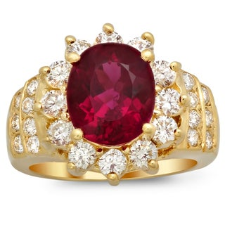 14k Yellow Gold 1 1/2ct TDW Diamond and 2 3/4ct TGW Rubelite Gemstone Ring (F-G, SI1-SI2)