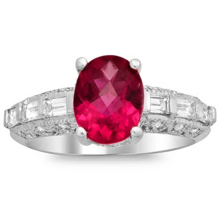 14k White Gold 2/5ct TDW Diamond and 1 3/4ct TGW Rubelite Ring (E-F, VS1-VS2)