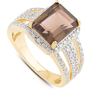 Dolce Giavonna Gold Over Sterling Silver Smokey Quartz and Diamond Accent Square Ring