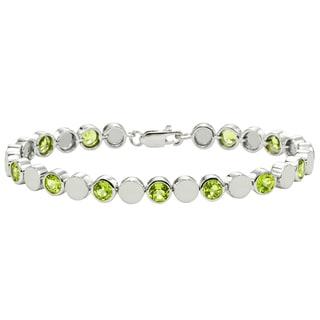 Gioelli Sterling Silver Peridot Beaded Bezel Bracelet