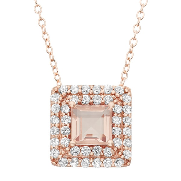 Gioelli Rose Goldplated Sterling Silver Morganite Quartz and Created White Sapphire Square Pendant Necklace. Opens flyout.