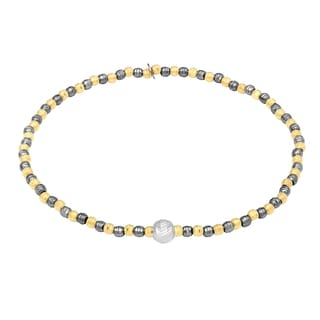 Sterling Silver Tri-color Diamond-cut Moonbeads Stretch Bracelet