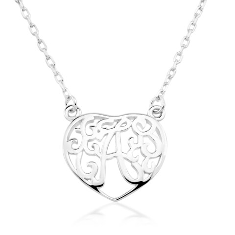 Rhodium-plated Sterling Silver Heart-shaped Monogram Initial Pendant Necklace