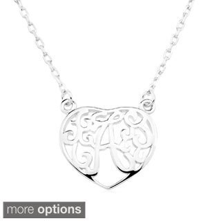 Rhodium-plated Sterling Silver Heart-shaped Monogram Initial Pendant Necklace (More options available)