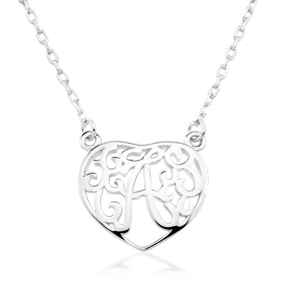 Shop rhodium plated sterling silver heart shaped monogram initial rhodium plated sterling silver heart shaped monogram initial pendant necklace aloadofball Gallery