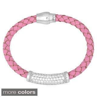 La Preciosa Sterling Silver and Braided Leather Cubic Zirconia Magnetic Bracelet