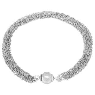 La Preciosa Sterling Silver Multi-strand Diamond-cut Bead Magnetic Bracelet