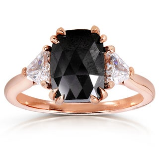 Annello by Kobelli 10k Rose Gold 2 1/4ct TDW Cushion Trillion-cut Black and White Diamond Ring