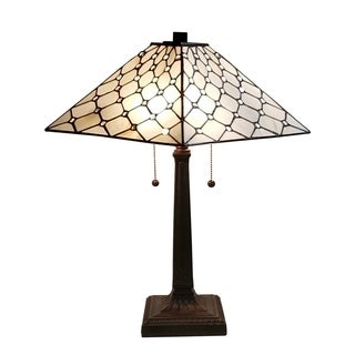 Amora Lighting Tiffany Style Jeweled Mission 3-light Table Lamp