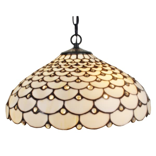 Amora Lighting Tiffany Style Jeweled 2 Light Hanging Lamp