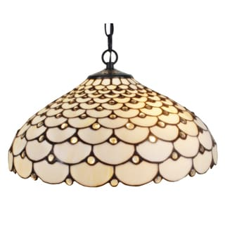 Amora Lighting Tiffany Style Jeweled 2-light Hanging Lamp