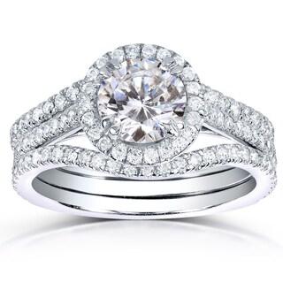 Annello by Kobelli 14k White Gold 1 3/4ct TDW Round-cut Halo Diamond 3-piece Bridal Ring Set