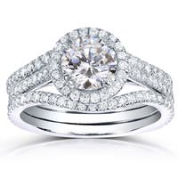 Annello by Kobelli 14k White Gold 1 3/4ct TDW Round-cut Halo Diamond 3-piece Bridal Ring Set
