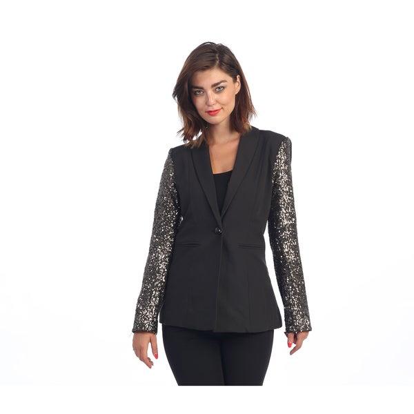 Hadari Women's Black Sequin Single Button Blazer