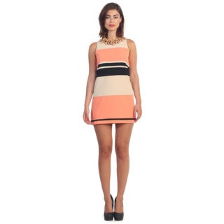 Hadari Women's Stripe Sleeveless Shift Dress