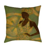 Ebony Art Green Indoor/ Outdoor Throw Pillow