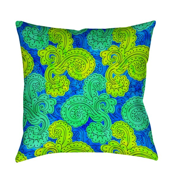 Shop Funky Florals Paisley Royal Blue Indoor Outdoor Pillow Free