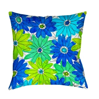 Thumbprintz Funky Florals Daisy Royal Blue Indoor/ Outdoor Pillow